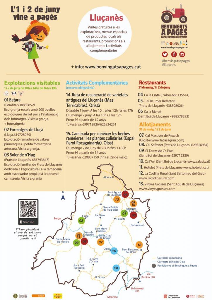 Programa de les activitats del Benvinguts a Pagès al Lluçanès